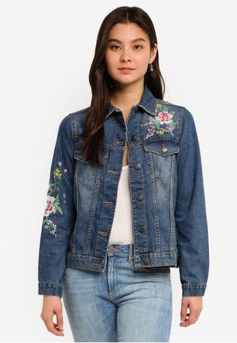 Dorothy Perkins blue Midwash Floral Embroidered Denim Jacket C42FCAA5F06B30GS_1