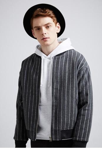 韓系學院。混紡羊毛。條紋鋪棉夾克-0738esprit童裝門市4-灰色, 服飾, 冬裝外套
