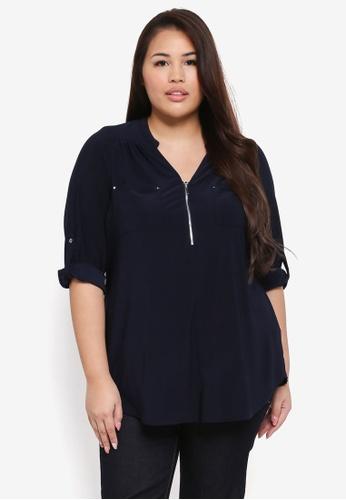 Dorothy Perkins navy Plus Size Blue Zip Jersey Blouse D3F64AA2CC3153GS_1