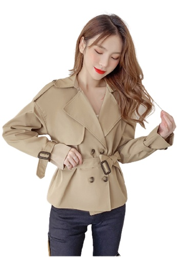 Halo beige Double Breasted Short Coat 790EAAA0FB98DCGS_1