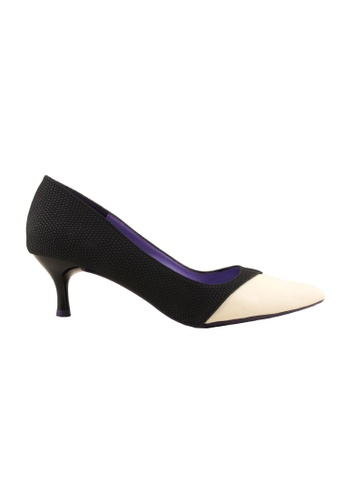 Flatss & Heelss by Rad Russel black Two Toned Colored Heels - Black E8C73SHEB06D8CGS_1