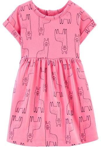 Carter's pink CARTER'S Girl Pink Llamas Print Dress 405D7KADC6299FGS_1