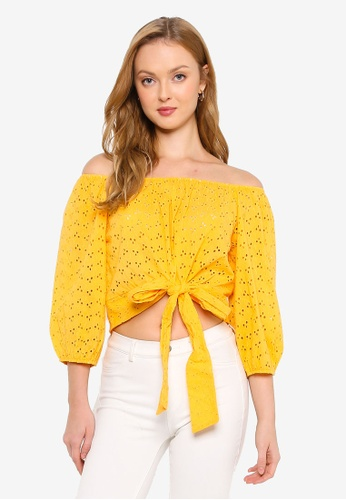 Brave Soul yellow Broderie Anglaise Wide Neck Top 151E7AA560F3E8GS_1