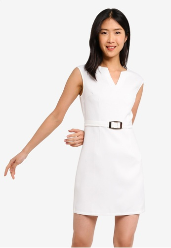 ZALORA BASICS white Basic Belted Shift Dress With Notch Neck CB65DAAADA212CGS_1