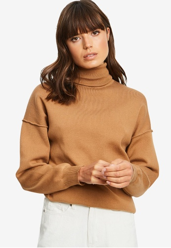 The Fated brown Huse Slouchy Knit Top 6A664AA4753AECGS_1