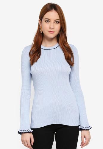 Zalia blue Knitted Flare Sleeves Top 9890FAAC5297B9GS_1