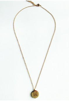 M Initial Disc Necklace