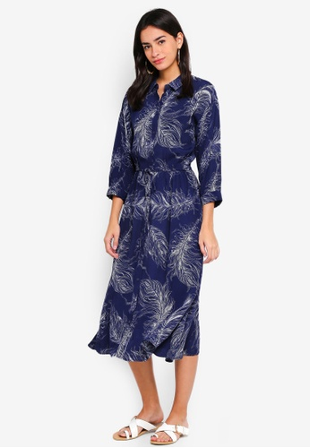 bf57f0608ffe Buy WAREHOUSE Feather Print Midi Shirt Dress Online on ZALORA Singapore