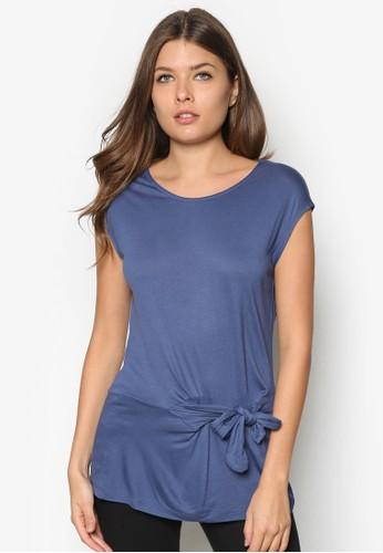 繫帶素色圓領zalora 泳衣TEE, 服飾, T恤