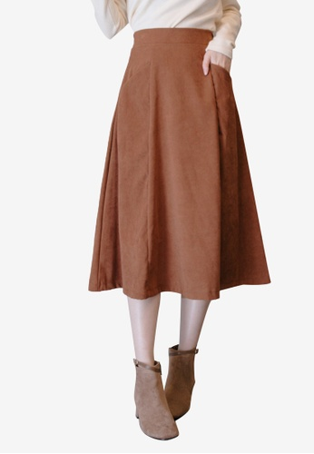 Eyescream brown Classic Midi Skirt With Side Pockets 1C320AAB240C63GS_1