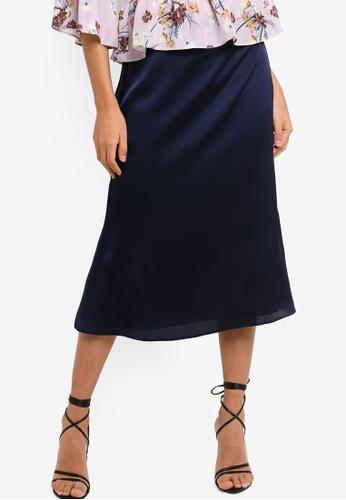 Glamorous navy Satin Midi Skirt 10405AA62ADFCEGS_1