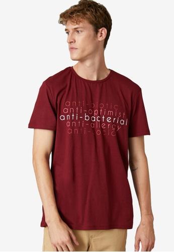 KOTON red Anti Graphic T-Shirt A213DAAF38C93FGS_1