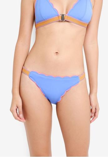 River Island blue Blue Scallop Scuba High Leg Bikini Bottoms 7561AUS3A883DCGS_1