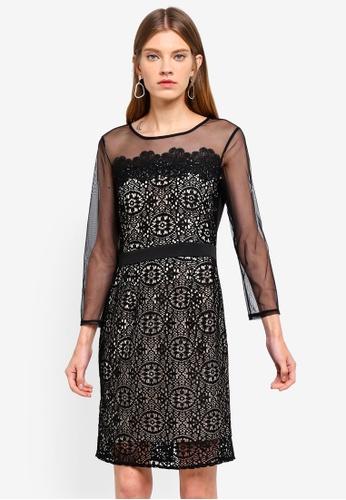 Dorothy Perkins black Black Long Sleeve Geo Lace Pencil Dress 8B447AA018A5CFGS_1