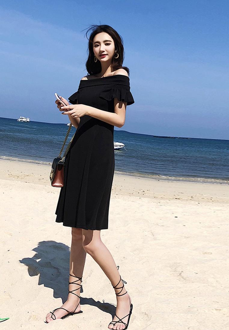 Off Sheath Sunnydaysweety New Shoulder A052221 One 2018 Dress Black Piece Black TnHawS