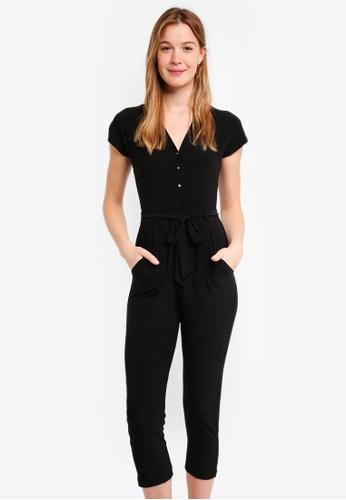Dorothy Perkins black Petite Black Button Jumpsuit F91B3AA144CE45GS_1
