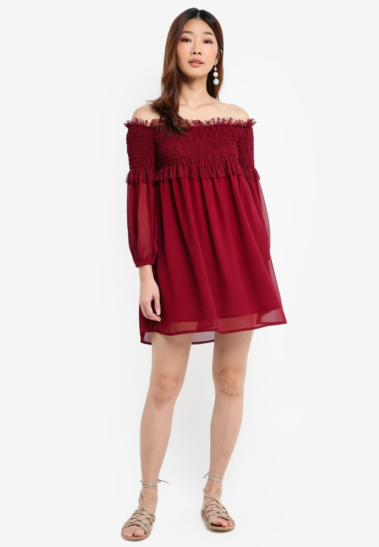 Lace Smocked Borrowed Off Shoulder Dress Maroon Something rrxCZq8wf