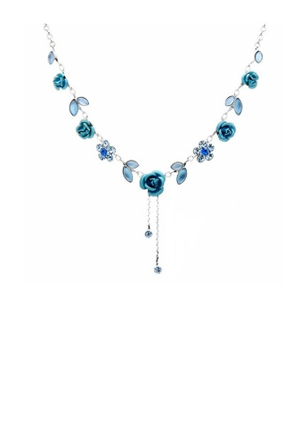 Glamorousky blue Elegant Rose Necklace with Blue Austrian Element Crystals 4EEC0ACB3F00D2GS_1