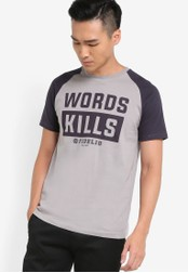 Fidelio grey Words Kills Printed Contrast Sleeves Tee FI826AA82NUNMY_1