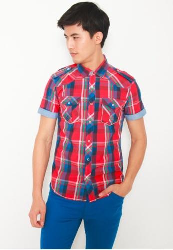 0d97a4036f DENIZEN red Men Slim Fit Short Sleeve Woven 2Pocket Shirt Ski Patrol  B4D50AAE05919BGS 1
