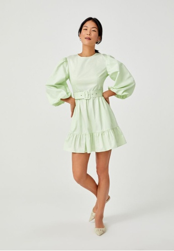 Love, Bonito green Ashby Belted Puff Sleeve Dress 44966AAEE687B9GS_1