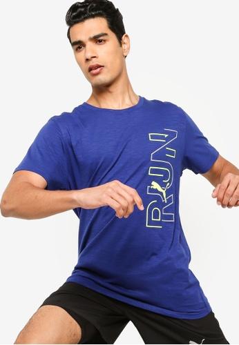Puma blue Graphic Short Sleeve Men's Training Tee BF7D0AA3770933GS_1