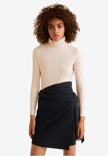 Mango blue Striped Bow Skirt DDFB3AADD54894GS_1