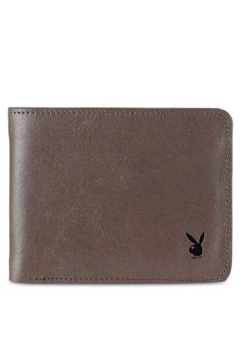 Playboy grey Playboy Bi-Fold Full Leather Wallet PL371AC0RX5KMY_1