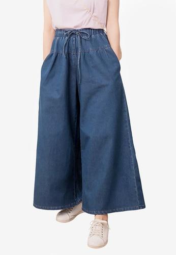 Kodz blue Pleated Wide Legged Trousers A38B5AAAD57382GS_1