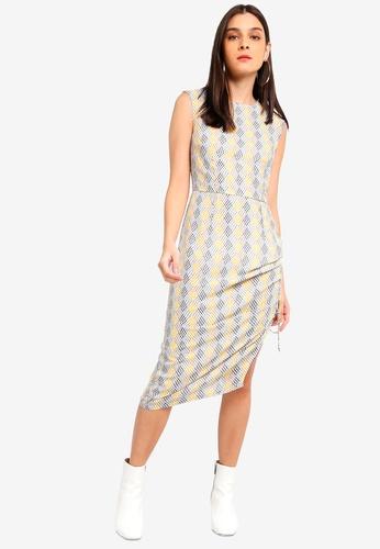 ZALORA green and multi Ruched Side Sheath Dress 1FD2BAA04B6003GS_1