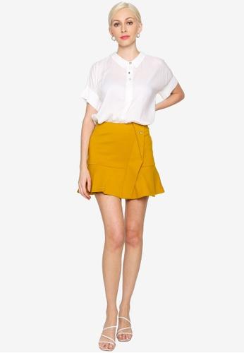 Hopeshow white Folded Cuff Chiffon Button Blouse 8A7A5AA2EE8C48GS_1