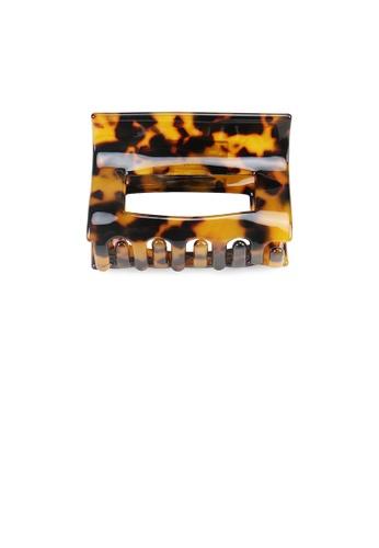 Glamorousky silver Simple and Fashion Dark Brown Pattern Hollow Geometric Hair Claw 8FC91AC06FA571GS_1