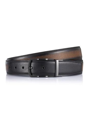 ENZODESIGN black and grey ENZODESIGN Brush Effect Buffalo Leather Gun Metal Pin Buckle Belt E9F1EAC318C635GS_1