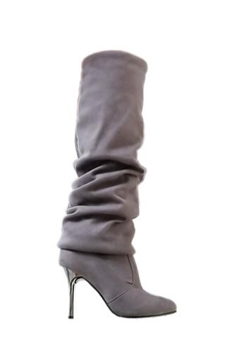 Twenty Eight Shoes 灰色 電鍍幼高跟過膝靴 VB809 F9EC7SH032BA96GS_1