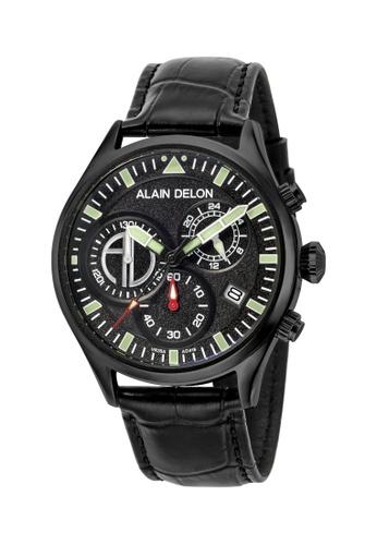 Alain Delon black Alain Delon Men AD418-1732C Black Leather Watch 03E8AACFB8B939GS_1