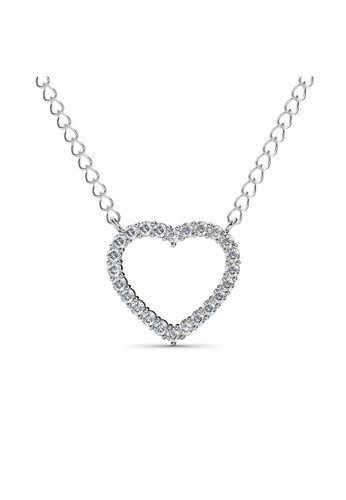 Her Jewellery white and silver Just Sweet Love Pendant - Kalung Crystal Swarovski by Her Jewellery HE210AC0G00QSG_1