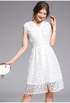 b88b16f05841 20% OFF Sunnydaysweety New White Dotted V-Neck One Piece Dress CA052714 HK$  438.00 NOW HK$ 350.00 Sizes S M L XL