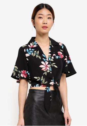 Something Borrowed black Waist Tie Resort Shirt FDFB2AA195B57FGS_1