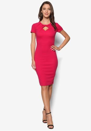 褶飾鏤空及膝連身裙, 服飾, Dress Toesprit 衣服 Impress