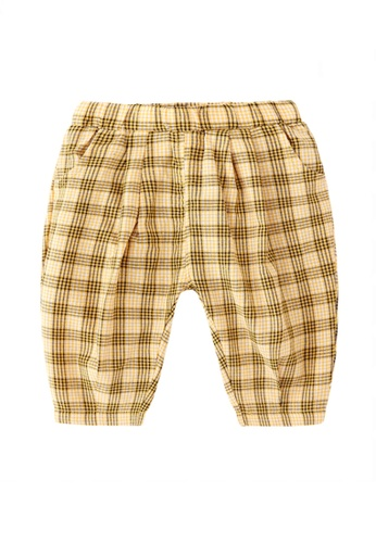 Kiddies Crew black and brown and yellow and multi Checkered Hip Hop Big Butt Boys Girls Baby Kids Long Pants With Pockets (Yellow) A6EC1KA9635C49GS_1