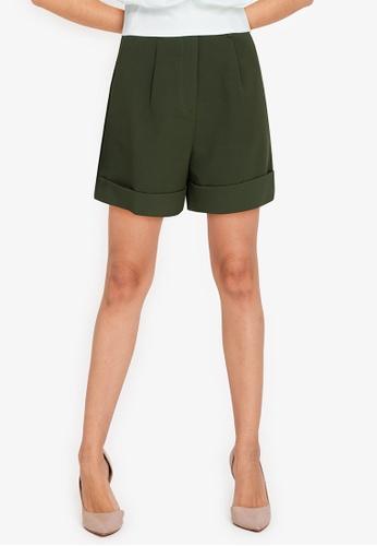 ZALORA WORK green Turn Up Cuffs Shorts 7461CAAA1B214EGS_1