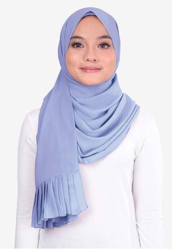 UMMA 藍色 褶飾雪紡絲巾 C3532AA6B4DCCFGS_1