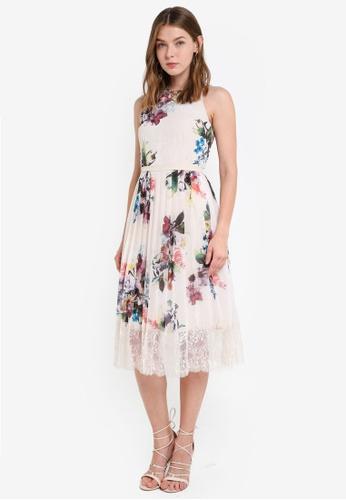 Little Mistress white Floral Lace Midi Dress 9BE03AAEBB7E10GS_1