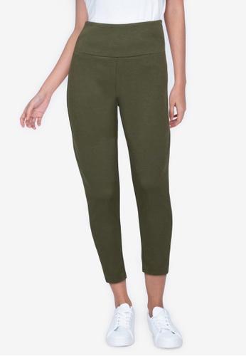 ZALORA BASICS 綠色 High Waist Legging Pants 54B92AACF06F7CGS_1