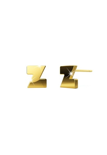 Bullion Gold gold BULLION GOLD Bold Initial Alphabet Letter Earrings Gold Layered Steel Jewellery- Z 55BF9ACAF91306GS_1
