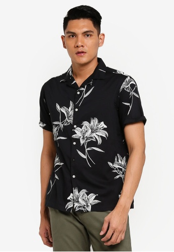 SUPERDRY black Hawaiian Box Short Sleeve Shirt 832C2AA722BCCFGS_1