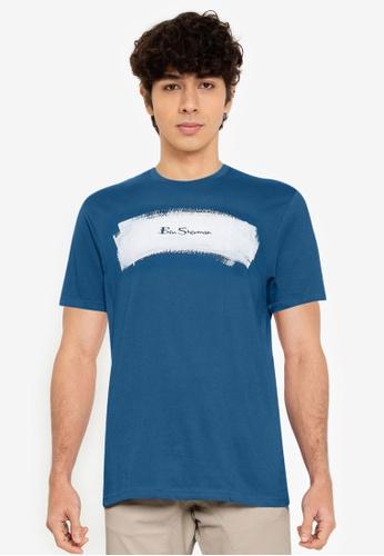 Ben Sherman blue Painted Stripe Tee 9A916AAC67524BGS_1