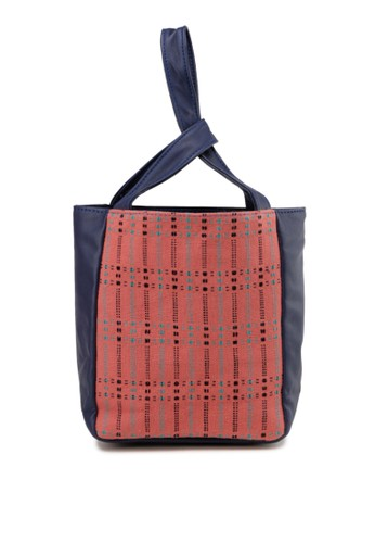 MITHLABS pink and navy Xena Small Tote 88C9FACC574D8EGS_1