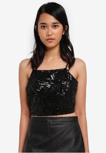 Something Borrowed black Cut-In Embellished Crop Top 9C9A4AA9091B15GS_1