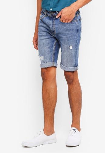 Burton Menswear London 藍色 Mid Blue Denim Shorts 1086AAA3B91613GS_1